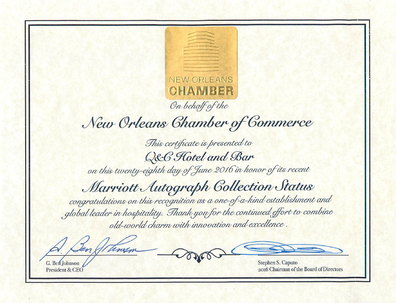 Q&C NOLA Chamber of Commerce Certificate