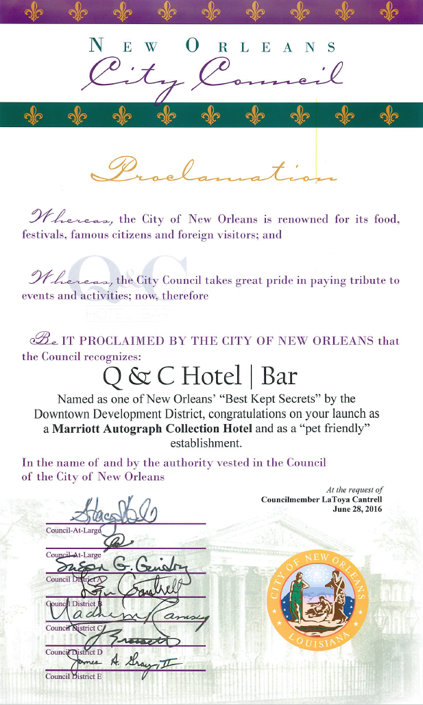 Q&C NOLA City Council Certificate