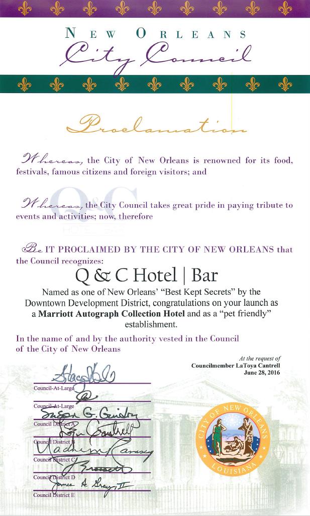 Q&C NOLA City Council Certificate